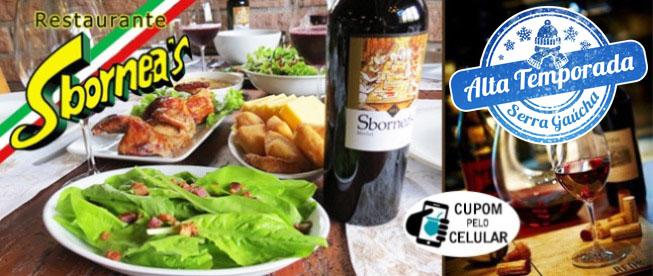 VALE DOS VINHEDOS: Almoço com Rodízio Italiano Completo no Restaurante Sbornea's a partir de R$35,90/pessoa!