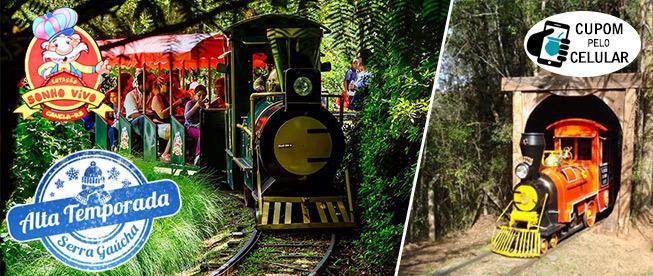 Canela: Passeio de Trem + Visitação à Vila dos Imigrantes na Estação Sonho Vivo do Parque do Caracol por SÓ R$7,90!