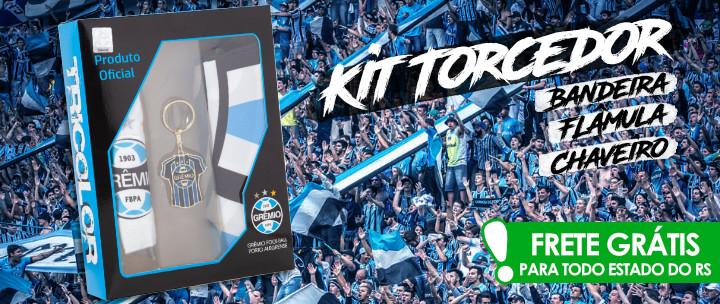 Para os Gremistas de Coração  Kit Torcedor do Grêmio com Bandeira + Flâmula  + Chaveiro ... 30381c5f38b72
