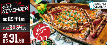 BLACK NOVEMBER: Buffet de Sushi LIVRE + Hot + Salada Sunomono + Espetinho de Peixe Frito no On Sushi Bar por SÓ R$31,90!