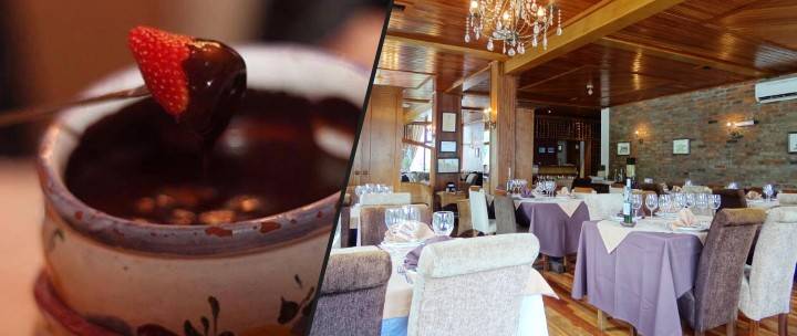 Gramado: Sequência de Fondue no Swiss Cottage: Imagem Fondue de Chocolate e Interior do Restaurante